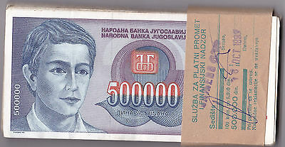 YUGOSLAVIA 500,000 DINARA 1993  P119 - Circulated BUNDLE PACK 100 PCS