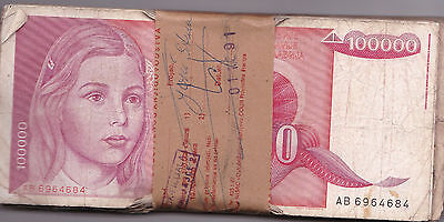 YUGOSLAVIA 100,000 DINARA 1989 issue. P97 - CIRC BUNDLE  100 PCS