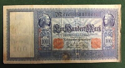 WORLD CURRENCY - GERMAN REICHS BANK NOTE 100 MARKS -  April 1910.