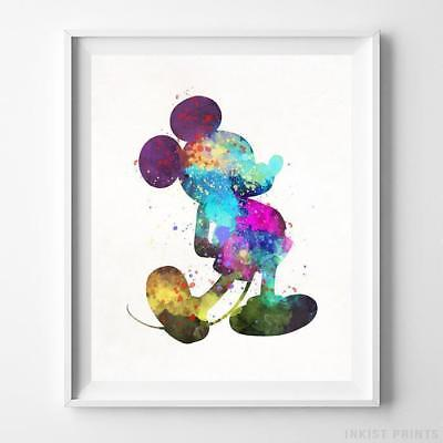 Mickey Mouse Type 1 Wall Art Disney Watercolor Poster Nursery Room Gift UNFRAMED