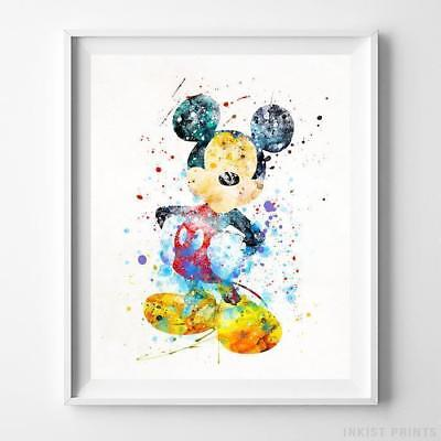 Mickey Mouse Type 2 Wall Art Disney Watercolor Poster Nursery Room Gift UNFRAMED