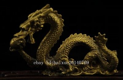China old antique hand made brass dragon statue collect