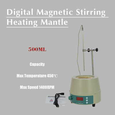250W 500ml Electric Digital LCD Magnetic Stirring Heating Mantle 842℉ 0-1400prm