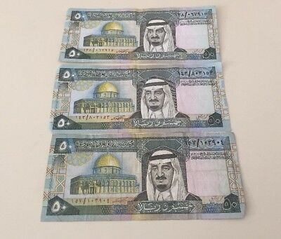 THREE 1983 Saudi Arabia 50 Riyals Banknotes circulated