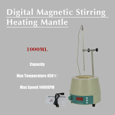 350W 1000ml Electric Digital LCD Magnetic Stirring Heating Mantle 842℉ 0-1400prm