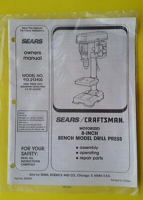 """CRAFTSMAN 113.213100 8"""" Motorized Bench Drill Press Instructions Guide Manual"""