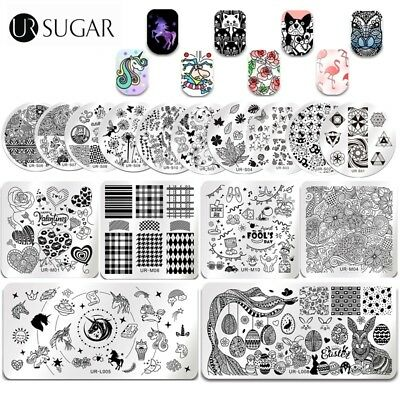 UR SUGAR Nail Art Stamping Plates Easter Rabbits Geometry Image Stamp Template