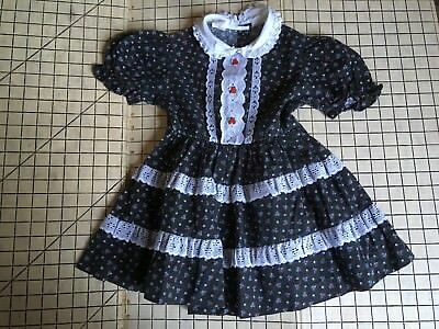 """Vintage Roanna Pleated Dress Girls Size 5T? 22"""" long Black Calico Floral Lace"""