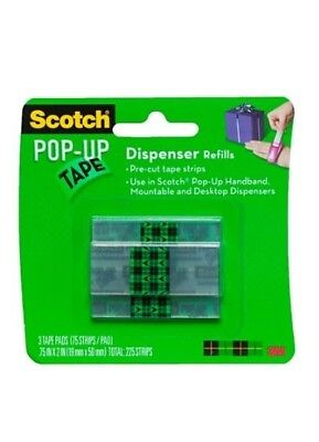 3M Scotch Pop Up Tape Dispenser Refills 3 Refils 225 Strips