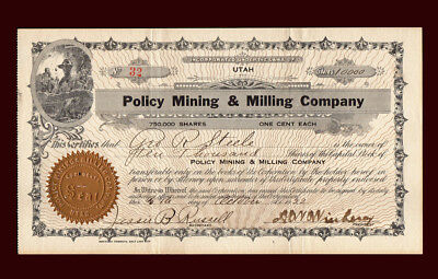 1922 Policy Mining & Milling Company Stock Certificate #32 UTAH 10,000 shares