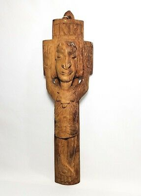 20Th C Antique African Folk Art Hand Carved Dry Fin Wood Crucifix W/inri Banner