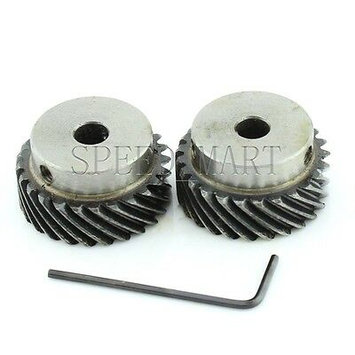 2x 1M-25T Metal Spiral Bevel Wheel Motor Gear 90° Gearing 25 Tooth 8mm Bore
