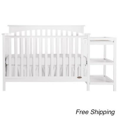 5 IN 1 Side Convertible Crib Changer Nursery Furniture Baby Toddler ...