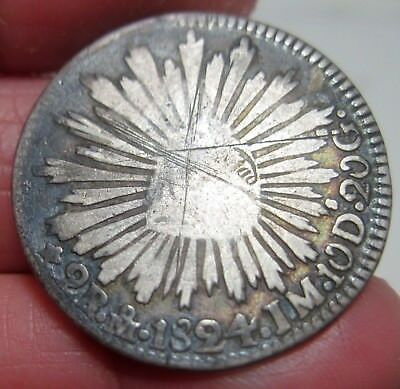 """1824 Jm Mo (Mexico ) 2 Reales (Silver)-- """"hook Neck Eagle """" --- One Year------"""