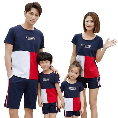 Family Matching Outfits Summer Cotton T-shirt+Pants Family Look Clothing Set