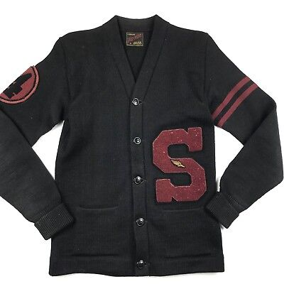 VTG Wil Wite Men's Letterman Cardigan Sweater 1950s Javee Award Stanford Patches