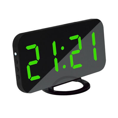 Digital Alarm Clock LED Display With 2 USB Charging Port Home Office Green