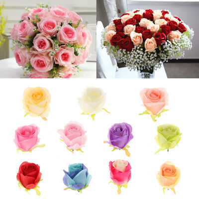 10PCS Artificial Flower Buds Rose Head Party Wedding Decor Headband Clips DIY