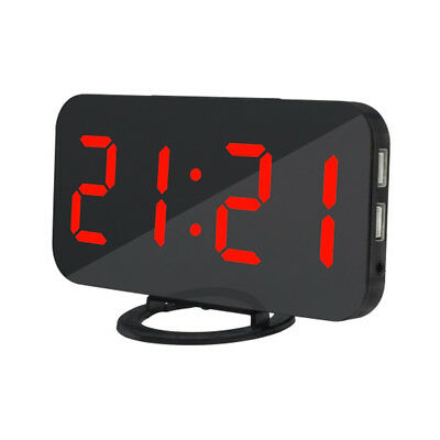 Digital Alarm Clock LED Display With 2 USB Charging Port Home Office Red