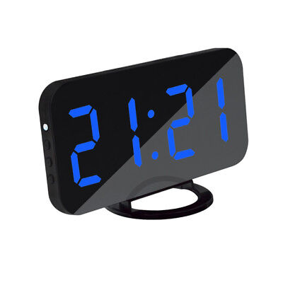 Digital Alarm Clock LED Display With 2 USB Charging Port Home Office Blue