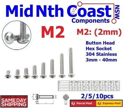 M2 x 3-40mm Hex Socket Button Head Screws/Bolts 304 Stainless Steel M2=(2mm)
