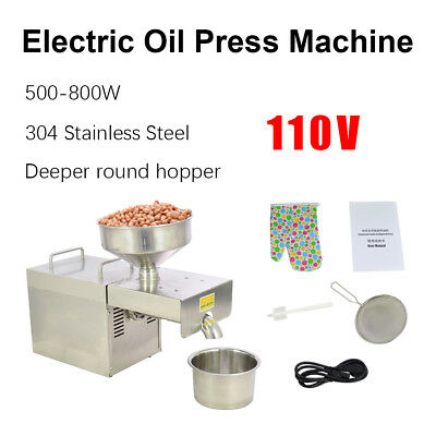 110V Stainless Steel Automatic Oil Press Machine Commercial Oil Mill Extraction