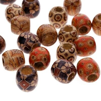 100pcs Mixed Large Hole Wooden Beads for Macrame Jewelry Charms Crafts Making