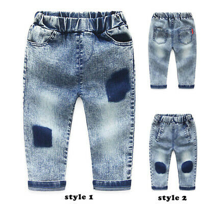 Young Boys Clothes Long Pants Wash Jeans Kids Baby Boy Elastic Denim Trousers