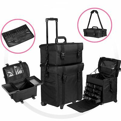 Pro 2 in 1 Rolling Makeup Trolley Cosmetic Case Beauty Artist Bag Organizer MG