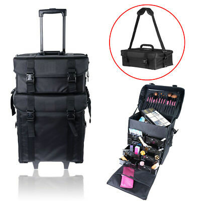 2 in 1 Makeup Case Train Box Cosmetic Organizer Rolling Luggage Trolley Bag MAX
