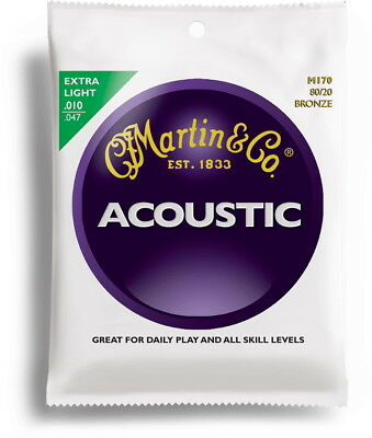 Cordes de guitare Folk acoustique  MARTIN  M170F EXTRA LIGHT 10-47 BRONZE 80/20