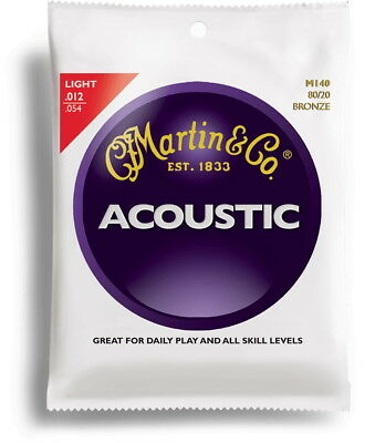 Cordes de guitare folk acoustique MARTIN  M140 LIGHT 12-54