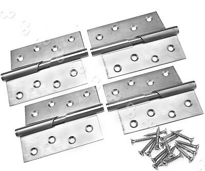 "Pair of Stainless Steel 4"" Rising Butt Left/Right Handed Lift Off Door Hinge BT"