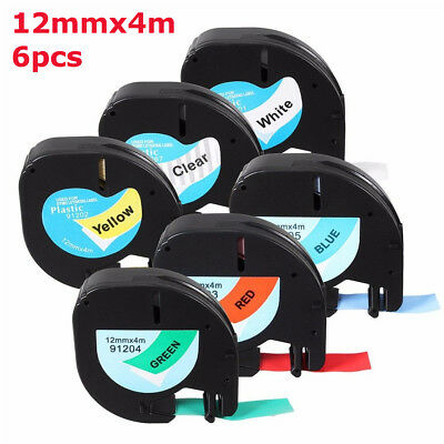 6Pcs Waterproof 12mmx4m Plastic Label Cartridge Tape For Dymo LetraTag Set
