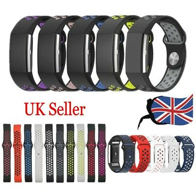 UK Replacement Soft Silicone Sport Watch Band Wrist Straps For Fitbit Charge 2