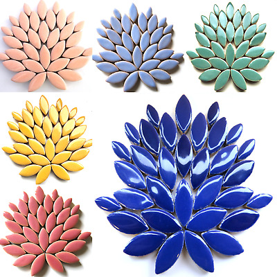 Small ceramic petals for mosaics arts and crafts - 50g Various colours