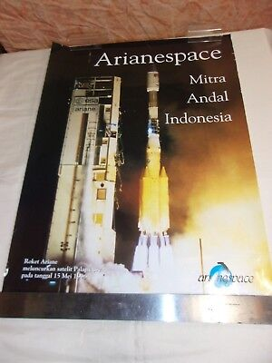 Poster -  Ariane  / Arianespace / Mitra Andal Indonesia - Palapa C-2