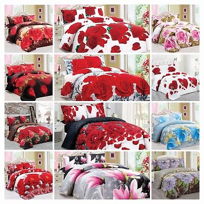 4 Piece 3D Duvet Cover Floral Bedding Set with Fitted Sheet And 2 Pillow Cases