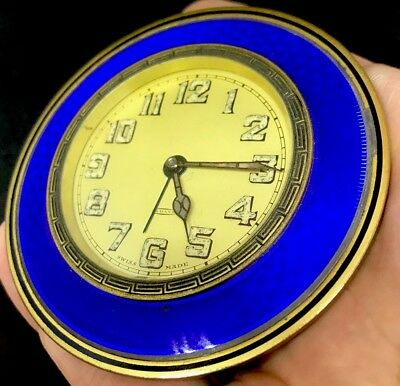 ART DECO Period 8-Day Travel Clock Guilloche ENAMEL For Inlay In Suitable Case