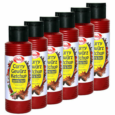 6x Hela Curry Gewürz Ketchup extra hot Grill-Sauce Curry-Ketchup scharf Chili