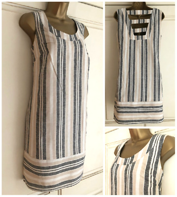 f0779b5a16 New Ex Tu Ivory Beige Black Linen Blend Stripe Lined Dress Size 8 - 22