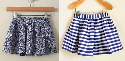2 Baby Gap Blue Floral and Striped Skirt 3T