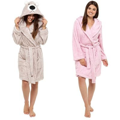 Ladies Cosy Shaggy Coral Fleece Animal Hooded Bath Robe/Dressing Gown Sizes 8-22