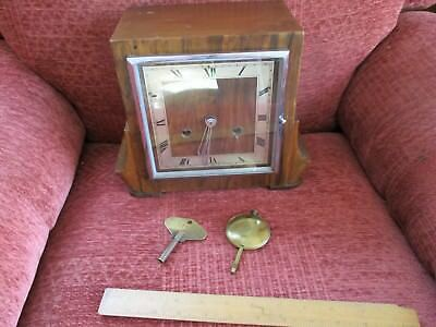 vintage  1930s  art deco perivale mantle clock with pendlum and key