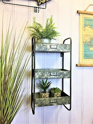 Industrial metal salvage storage 3 tier shelving Rack wall mounted 60cm
