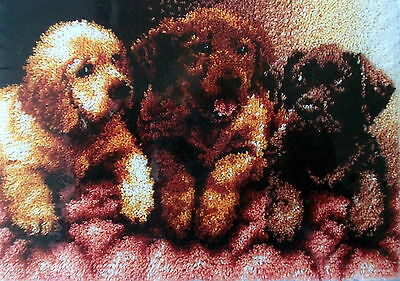 "Latch Hook Dog  Rug Canvas  Kit  ""lab Puppies"