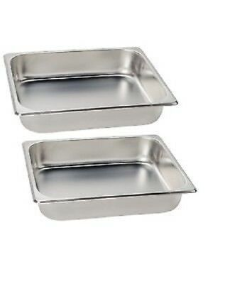 """INSERTS ONLY 2 PACK 2 1/2"""" Deep Stainless Steel Chafing Dish Chafer Pan Half"""