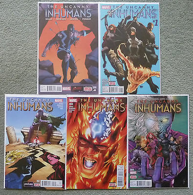 UNCANNY INHUMANS #0.#1-4 SET..SOULE/McNIVEN..MARVEL NOW, ALL NEW..1ST PRINT..NM