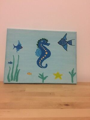 Hand painted Sea horse canvas