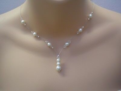 11c Handmade Pearl & Crystal Necklace Bridal Bridesmaid Wedding Dainty Silver